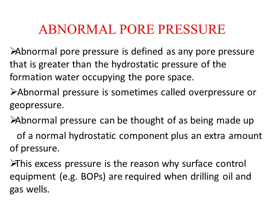 ABNORMAL PORE PRESSURE