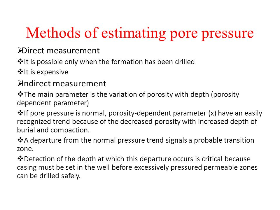 Methods of estimating pore pressure