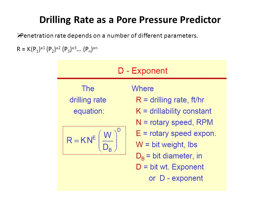 Drilling Rate as a Pore Pressure Predictor