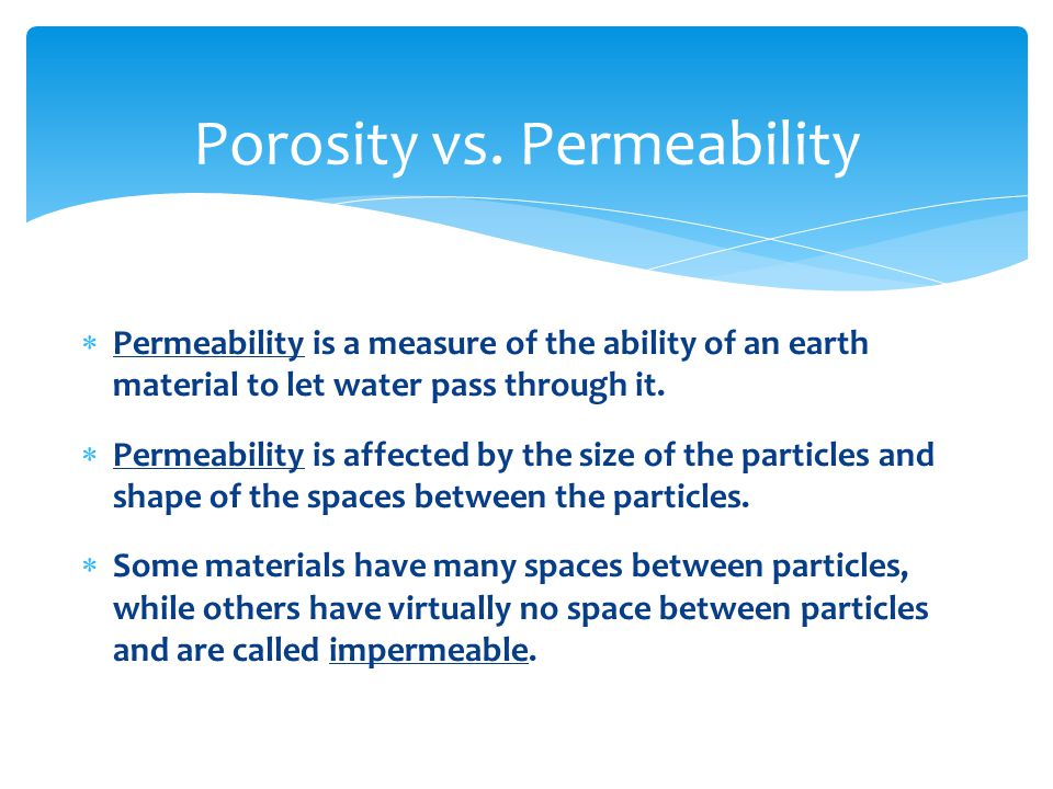 Porosity vs. Permeability