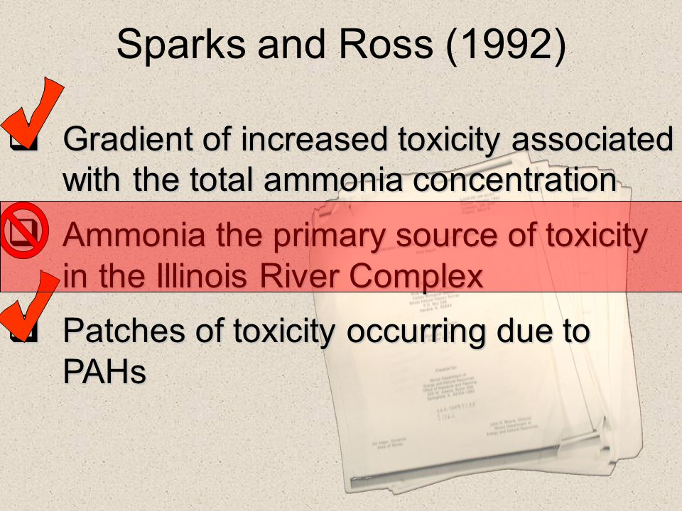 Sparks and Ross (1992) Gradient of increased toxicity associated with the total ammonia concentration.