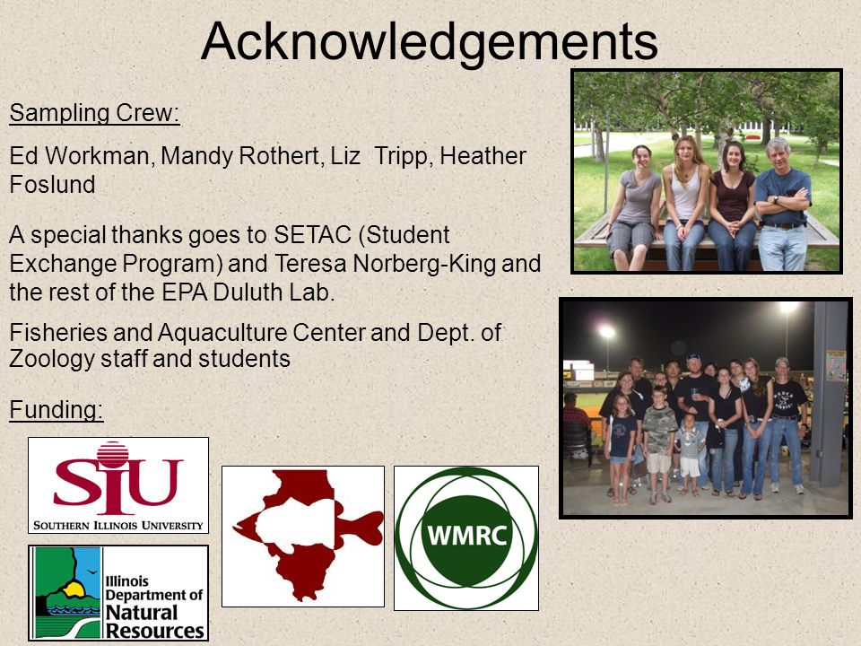 Acknowledgements Sampling Crew: