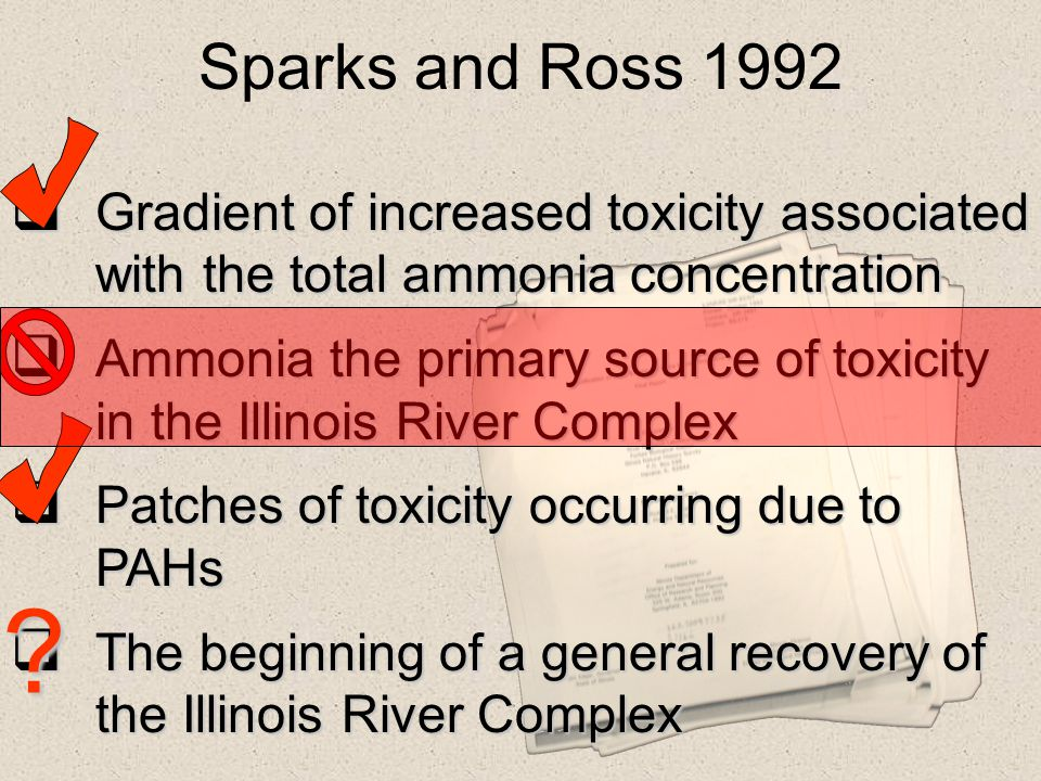 Sparks and Ross 1992 Gradient of increased toxicity associated with the total ammonia concentration.