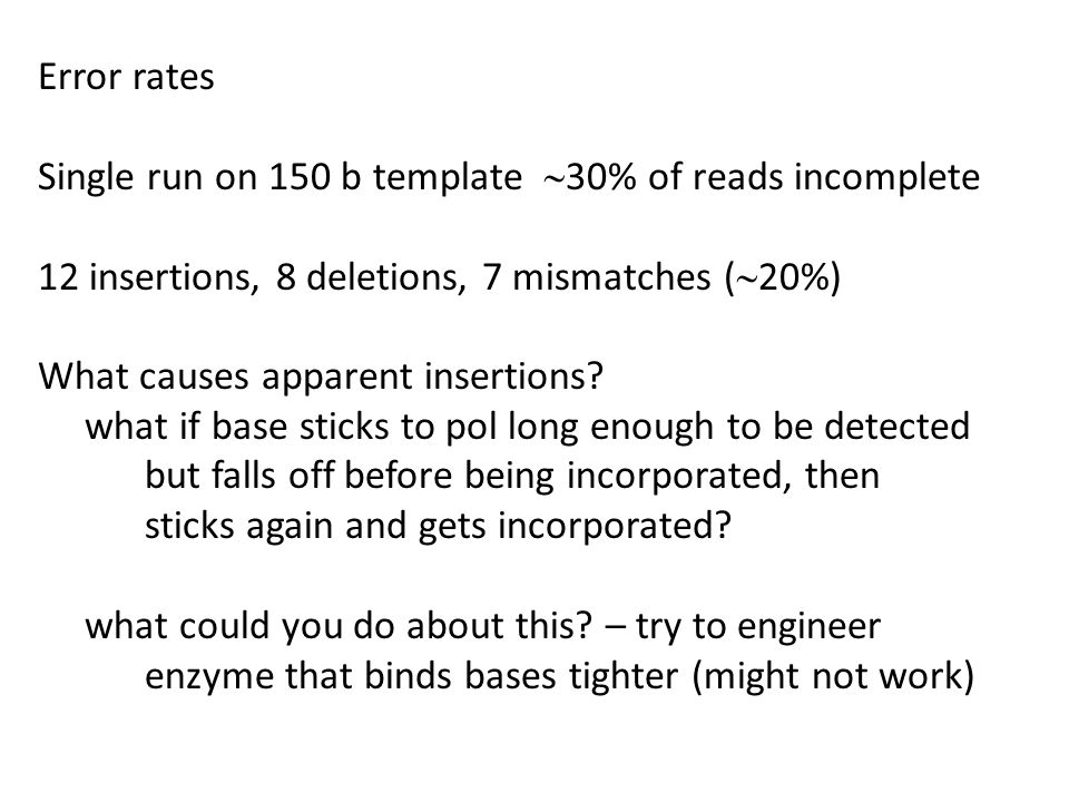 Error rates Single run on 150 b template ~30% of reads incomplete. 12 insertions, 8 deletions, 7 mismatches (~20%)