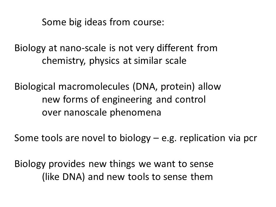 Some big ideas from course: