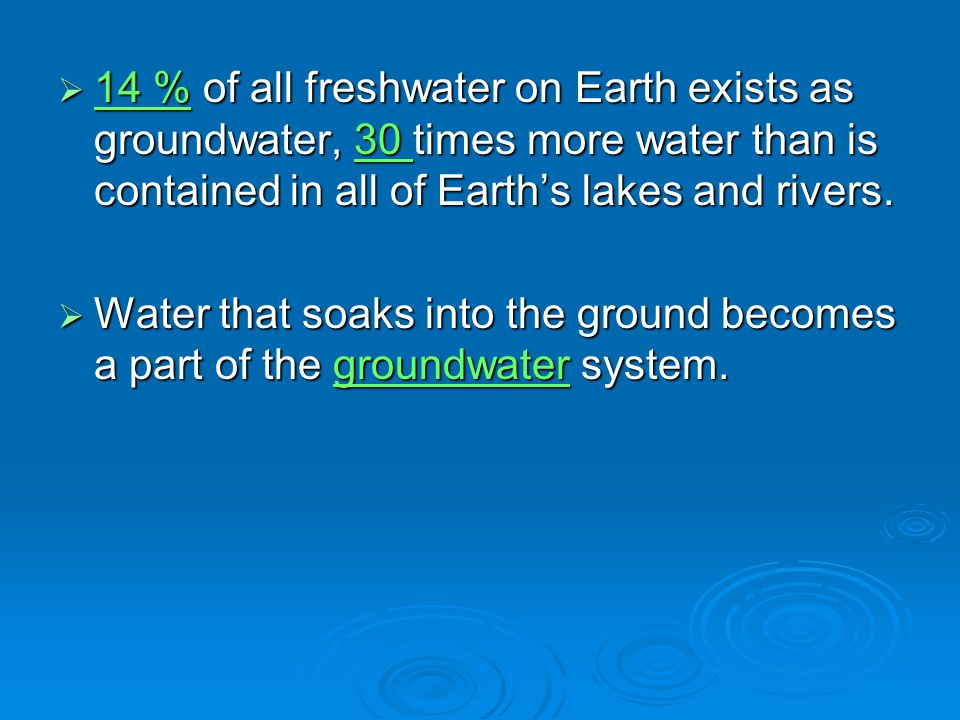 14 % of all freshwater on Earth exists as groundwater, 30 times more water than is contained in all of Earth's lakes and rivers.