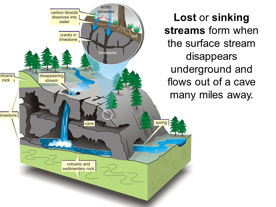 Lost or sinking streams form when the surface stream disappears underground and flows out of a cave many miles away.