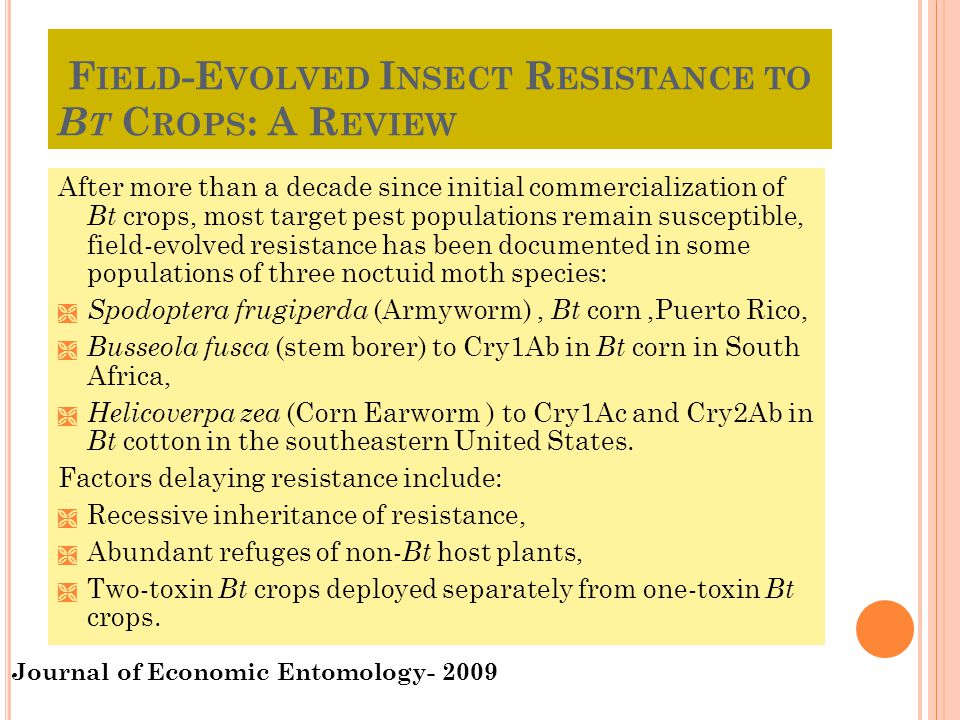 Field-Evolved Insect Resistance to Bt Crops: A Review