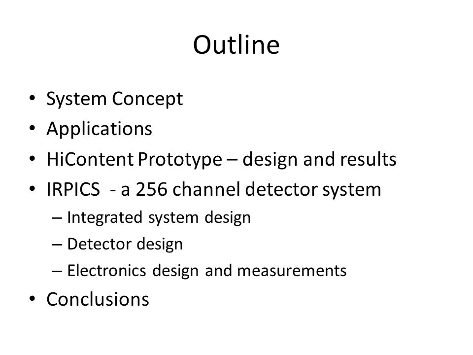 Outline System Concept Applications