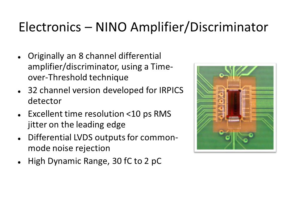 Electronics – NINO Amplifier/Discriminator