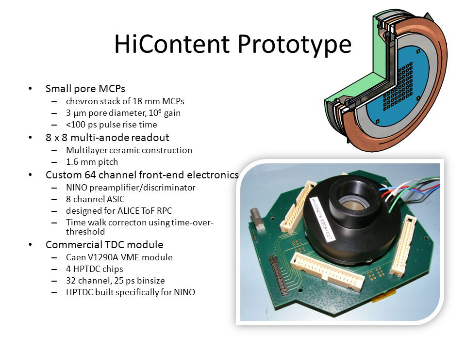 HiContent Prototype Small pore MCPs 8 x 8 multi-anode readout