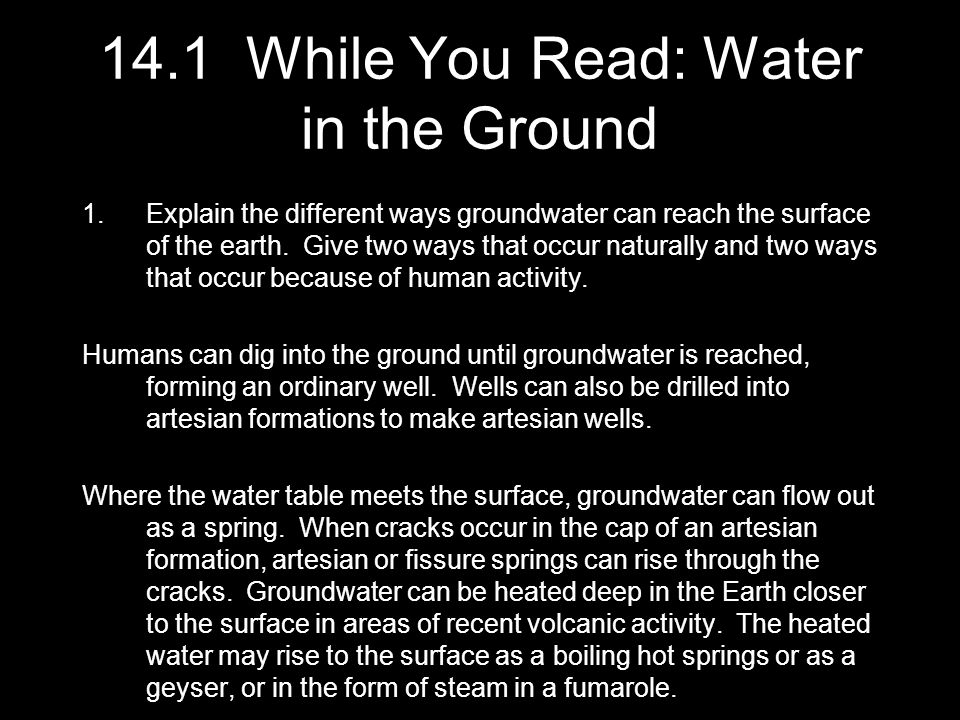 14.1 While You Read: Water in the Ground