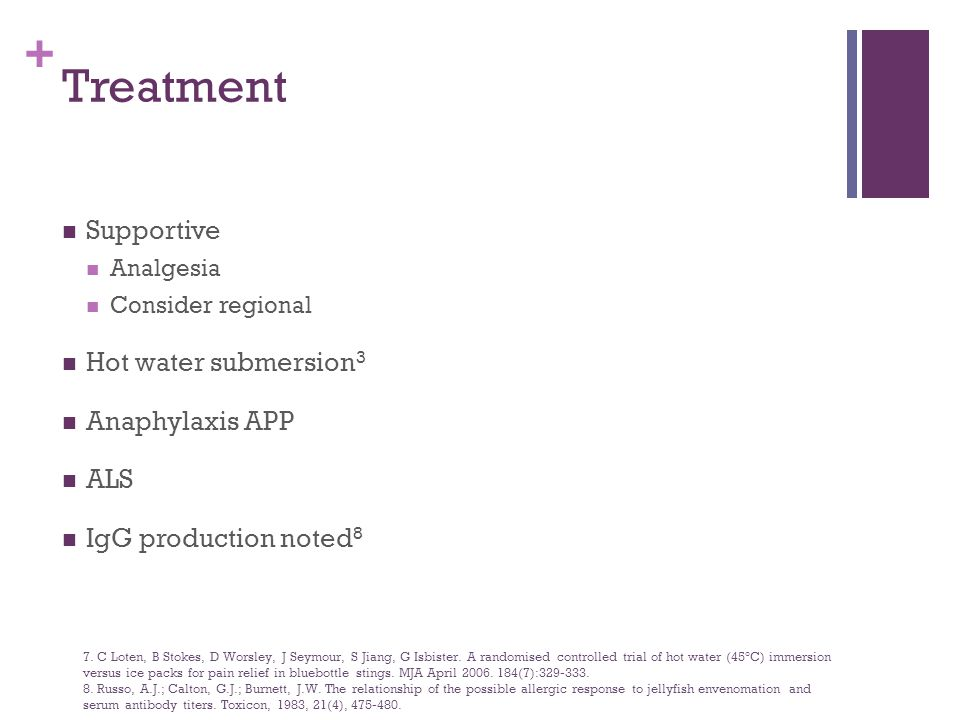 Treatment Supportive Hot water submersion3 Anaphylaxis APP ALS