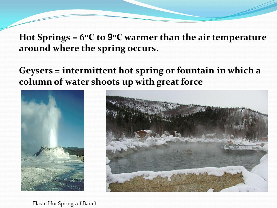 Hot Springs = 6oC to 9oC warmer than the air temperature around where the spring occurs.