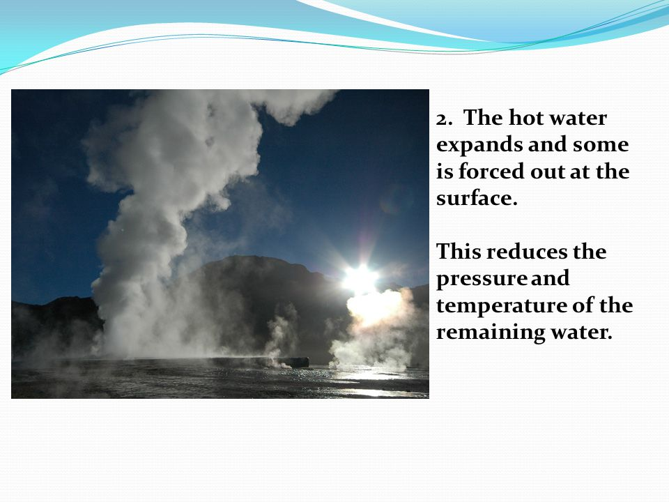 2. The hot water expands and some is forced out at the surface.