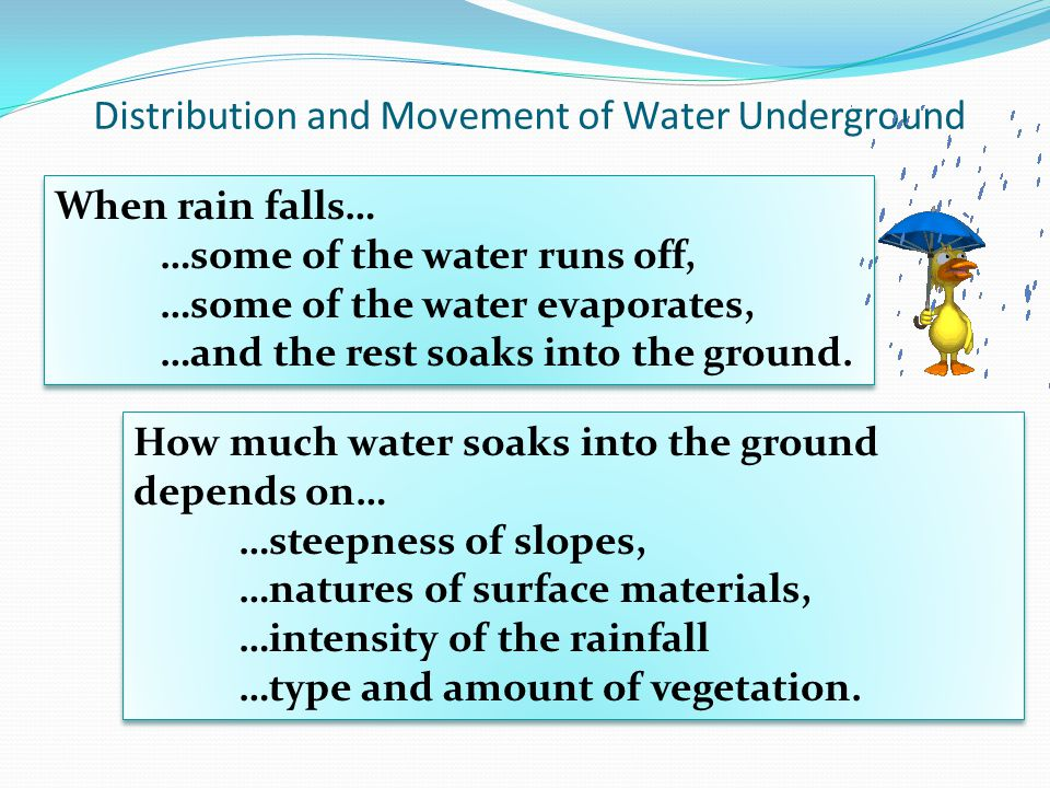 Distribution and Movement of Water Underground