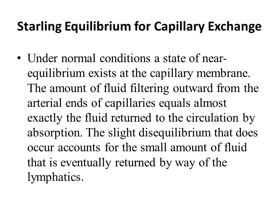 Starling Equilibrium for Capillary Exchange