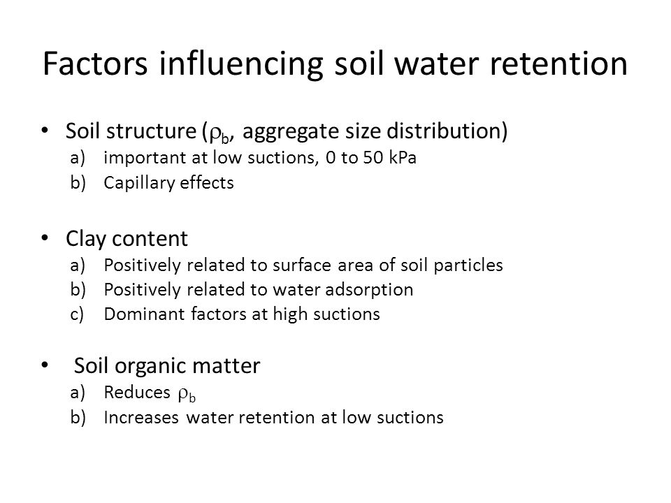 Factors influencing soil water retention