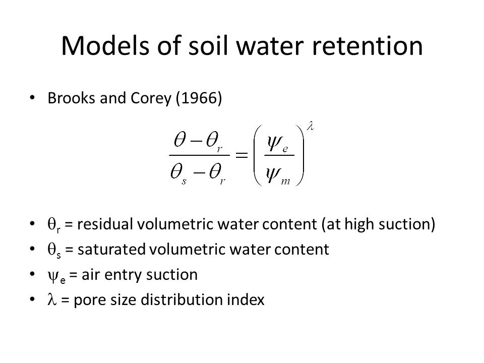 Models of soil water retention