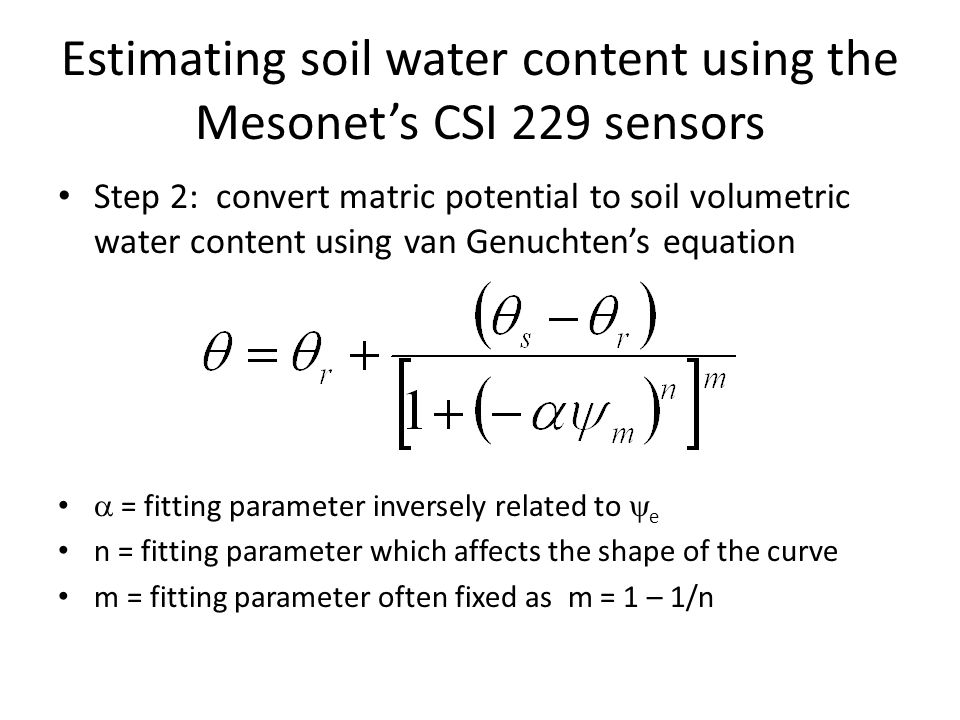 Estimating soil water content using the Mesonet's CSI 229 sensors
