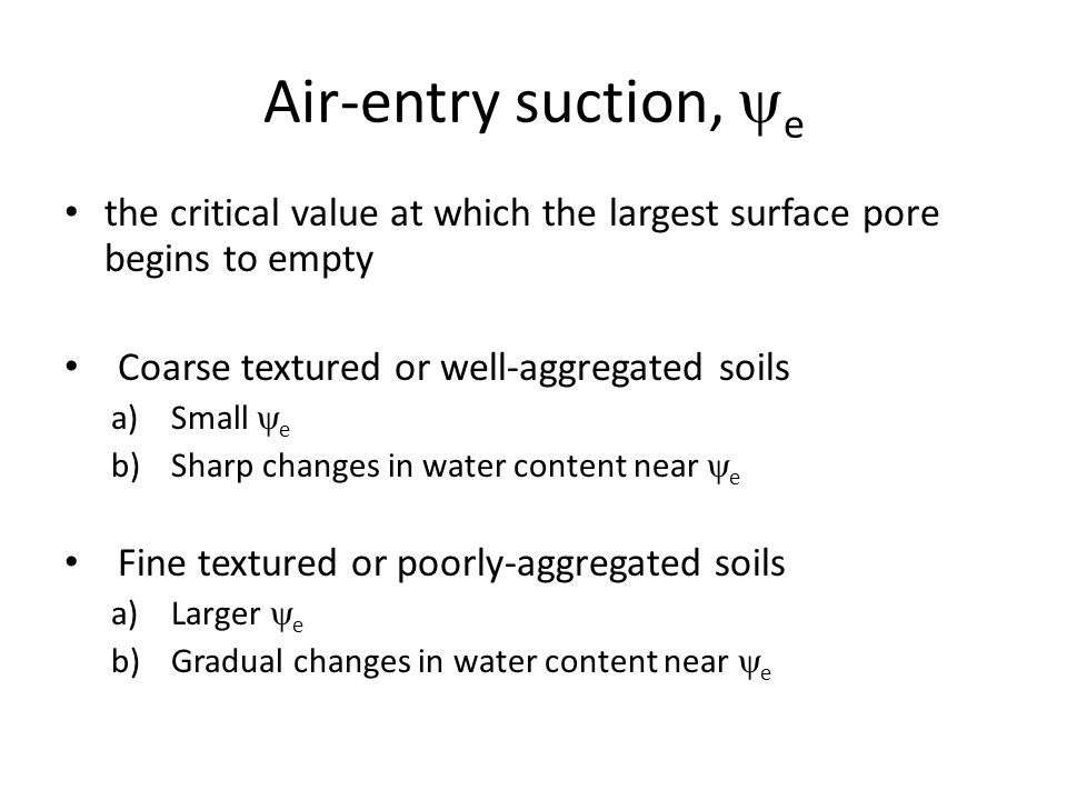 Air-entry suction, e the critical value at which the largest surface pore begins to empty. Coarse textured or well-aggregated soils.