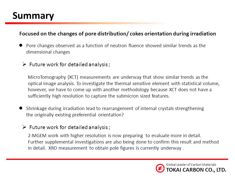 Summary Focused on the changes of pore distribution/ cokes orientation during irradiation.