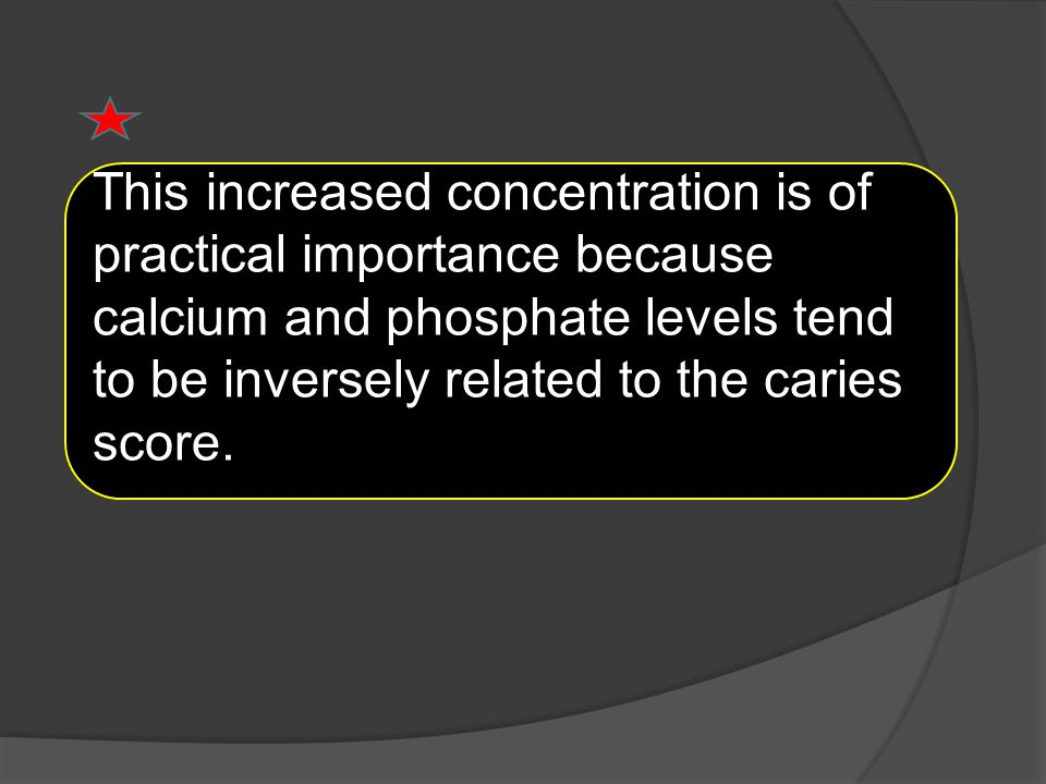 This increased concentration is of practical importance because calcium and phosphate levels tend to be inversely related to the caries score.