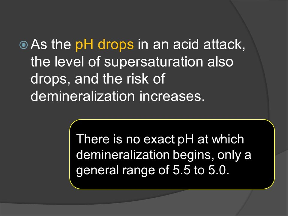As the pH drops in an acid attack, the level of supersaturation also drops, and the risk of demineralization increases.