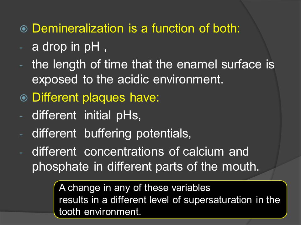 Demineralization is a function of both: a drop in pH ,