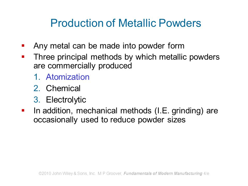 Production of Metallic Powders
