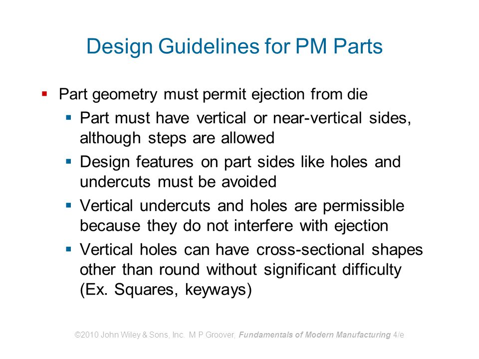 Design Guidelines for PM Parts