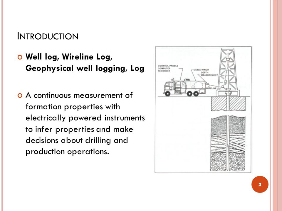 Introduction Well log, Wireline Log, Geophysical well logging, Log