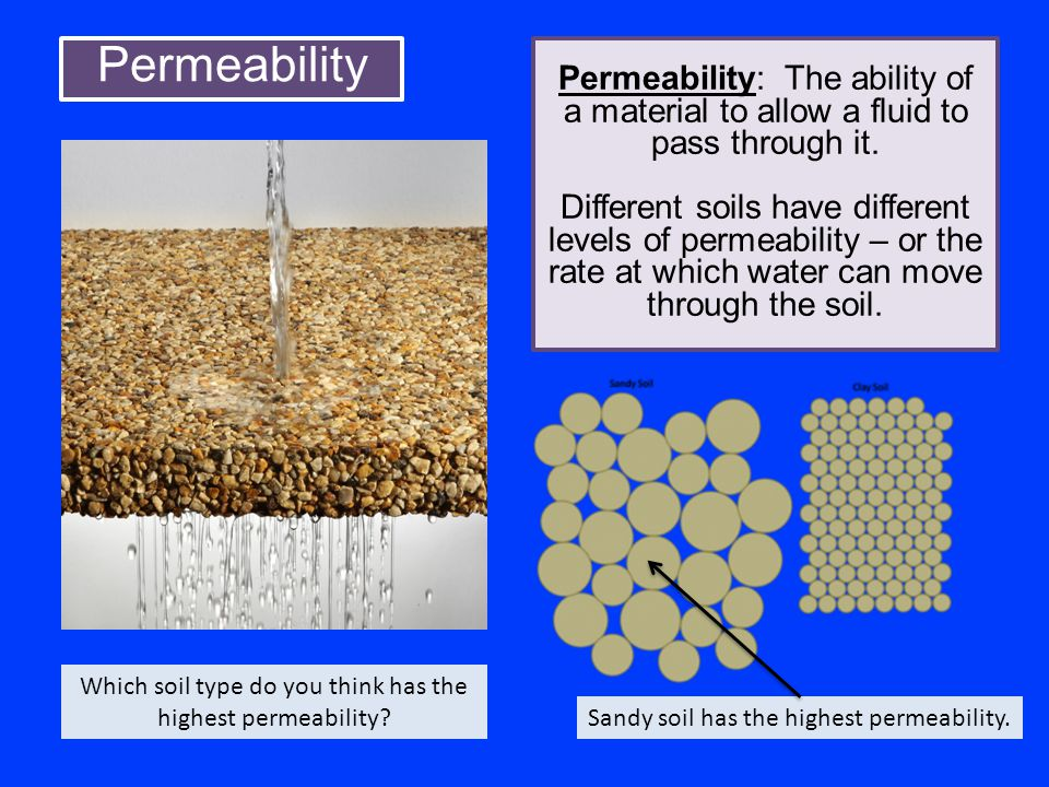 Which soil type do you think has the highest permeability
