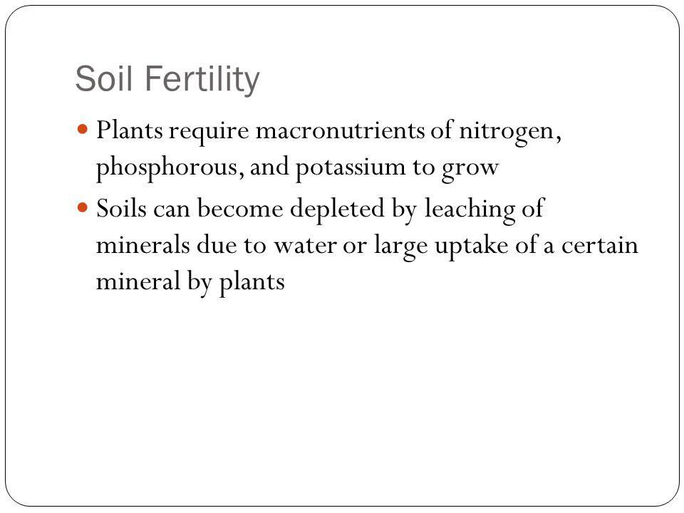 Soil Fertility Plants require macronutrients of nitrogen, phosphorous, and potassium to grow.