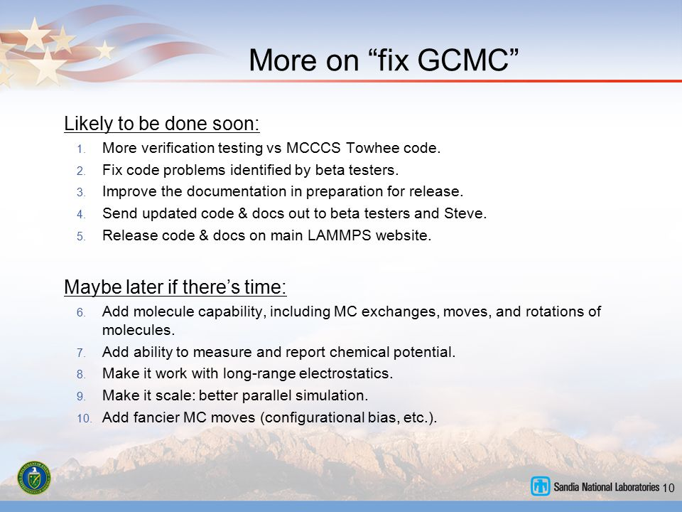 More on fix GCMC Likely to be done soon: