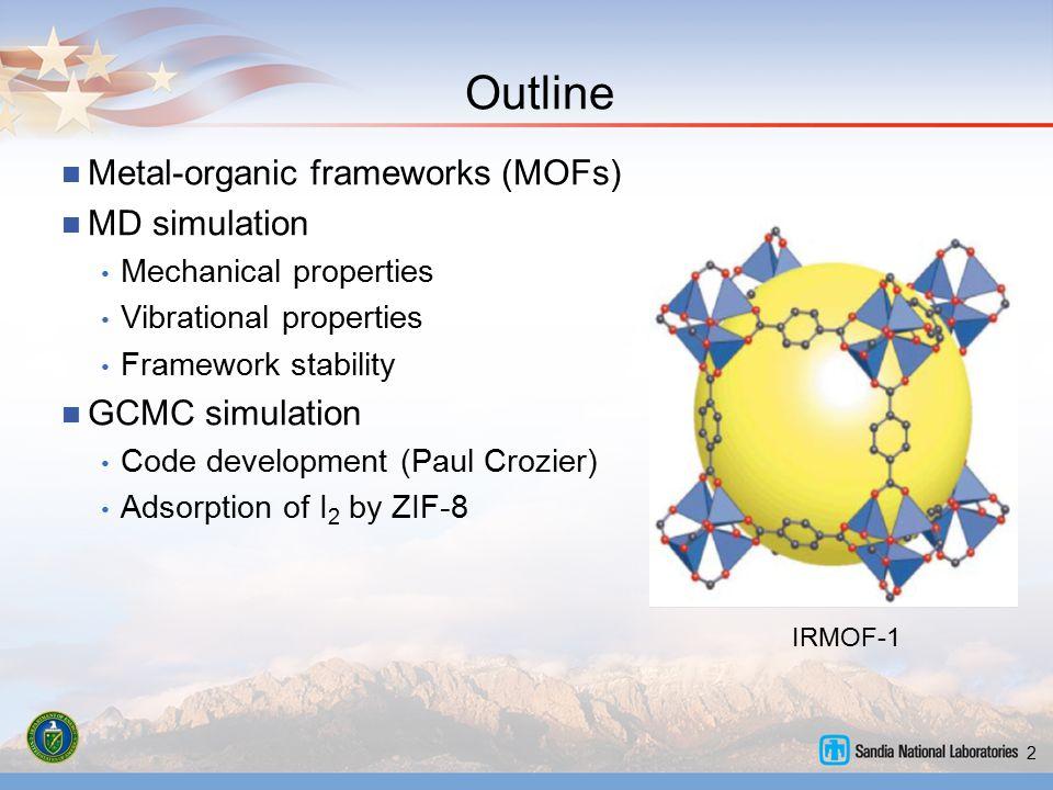 Outline Metal-organic frameworks (MOFs) MD simulation GCMC simulation