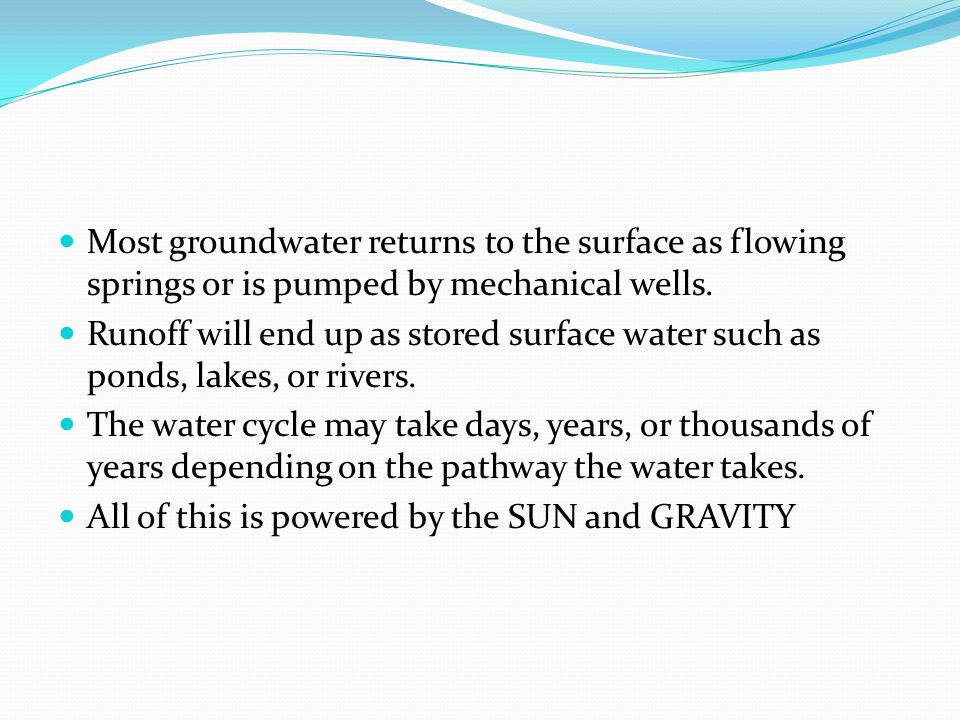 Most groundwater returns to the surface as flowing springs or is pumped by mechanical wells.