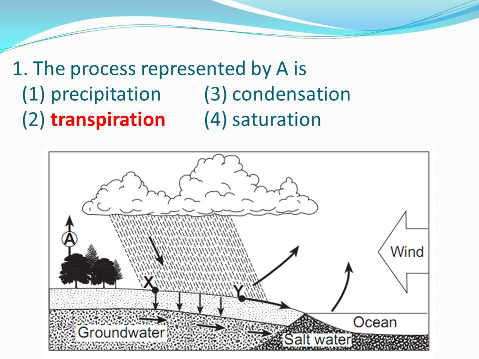 1. The process represented by A is (1) precipitation