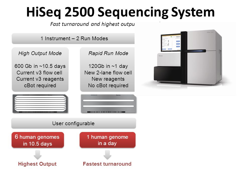 HiSeq 2500 Sequencing System Fast turnaround and highest output in a single instrument