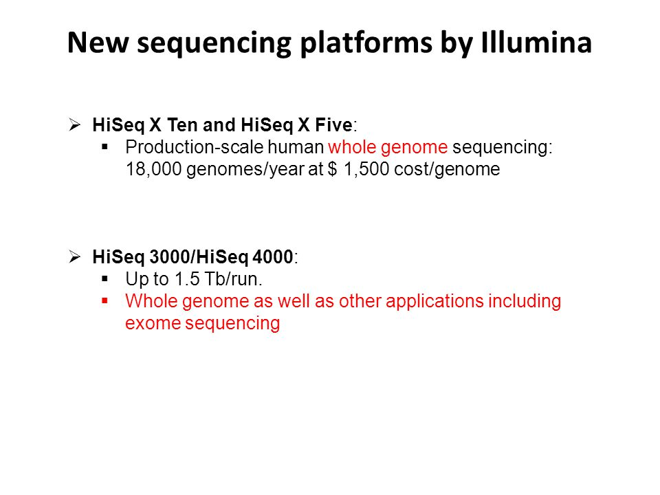 New sequencing platforms by Illumina