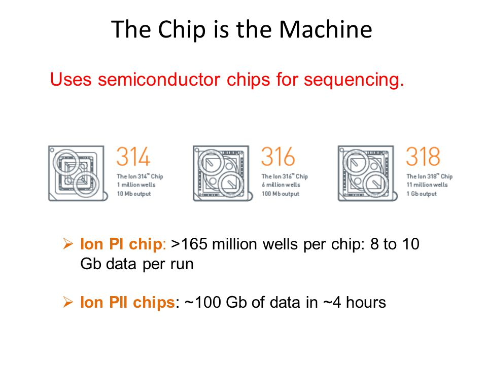 The Chip is the Machine Uses semiconductor chips for sequencing.