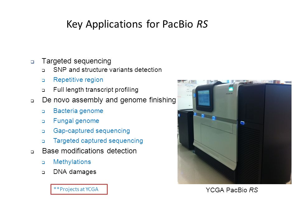 Key Applications for PacBio RS