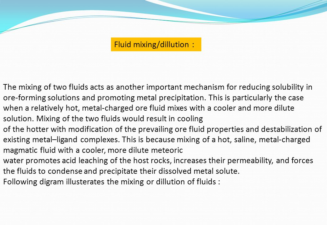 Fluid mixing/dillution :