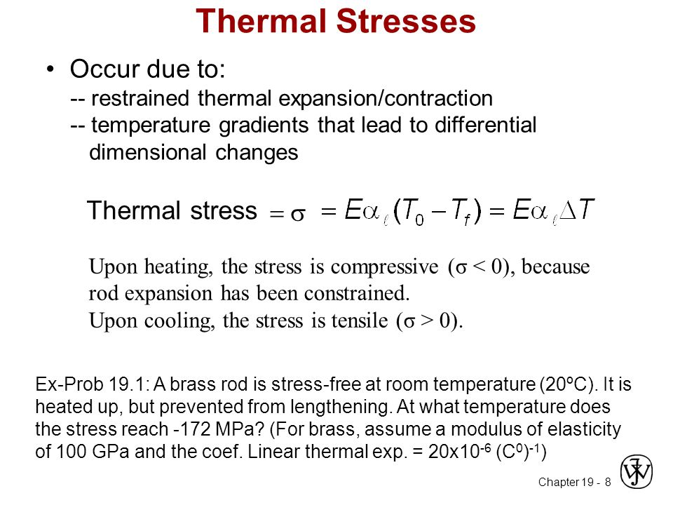 Thermal Stresses • Occur due to: Thermal stress 