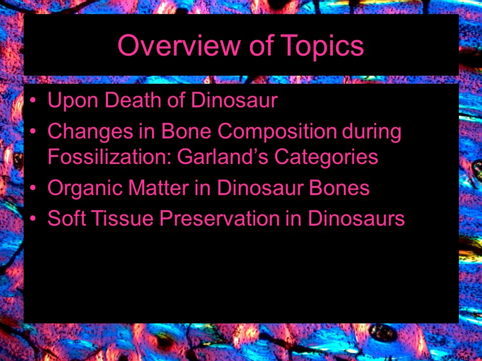 Overview of Topics Upon Death of Dinosaur
