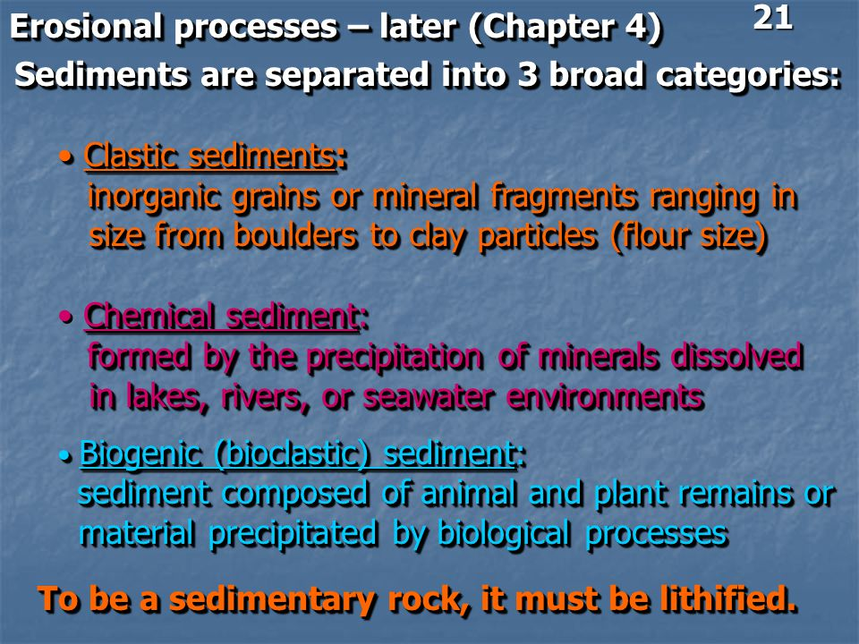 Erosional processes – later (Chapter 4)