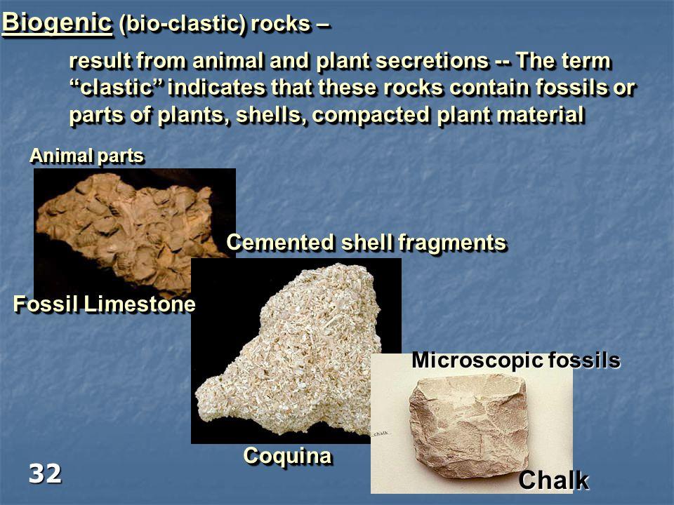 Biogenic (bio-clastic) rocks –
