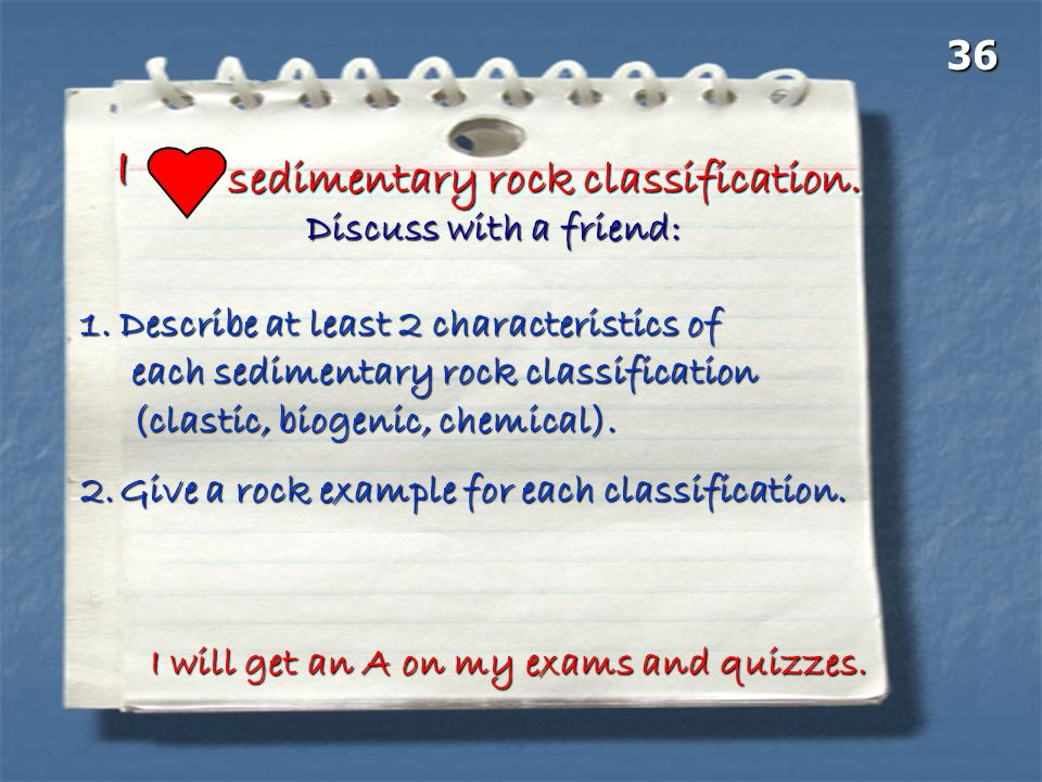 I sedimentary rock classification. 36 Discuss with a friend: