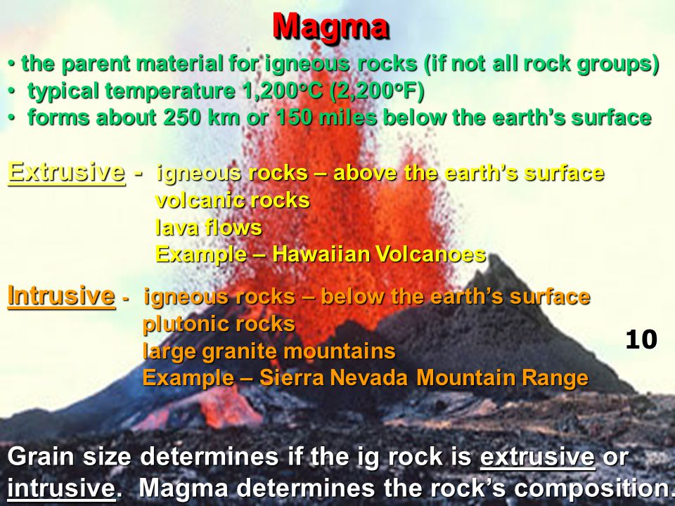 Magma Extrusive - igneous rocks – above the earth's surface