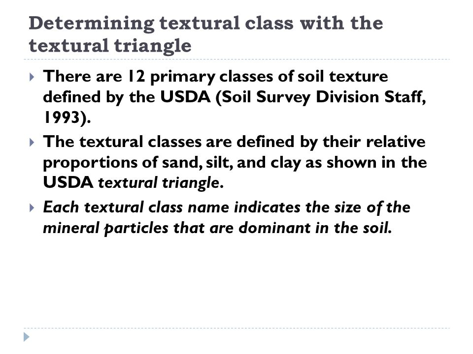 Determining textural class with the textural triangle